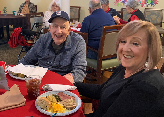 Residents and family dining at Madison Heights at The Prado