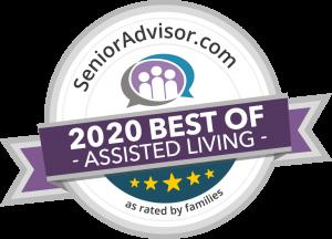SeniorAdvisor.com 2020 Best of Assisted Living award badge