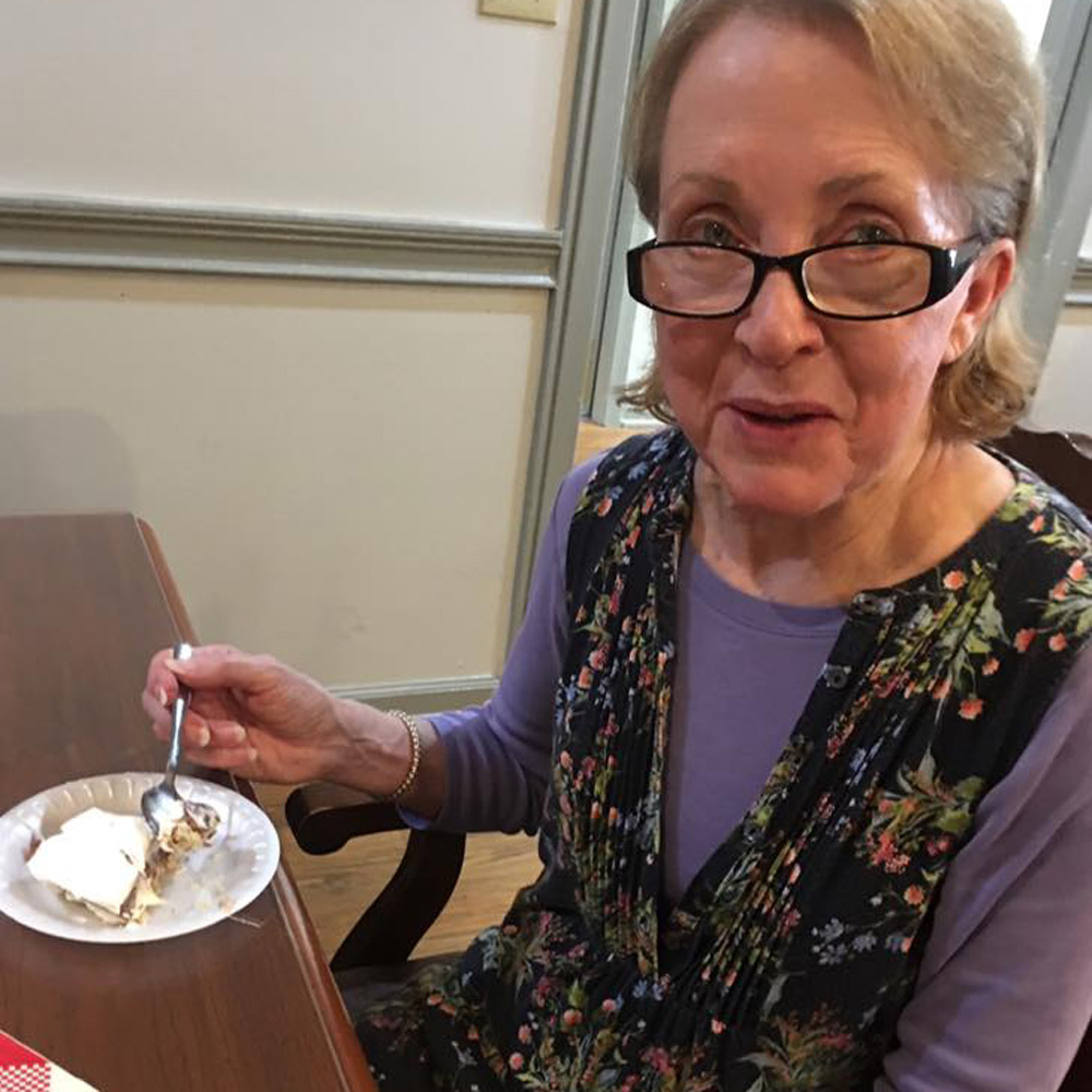 Four layer chocolate pie eaten by resident at Angels for the Elderly in Montgomery, AL