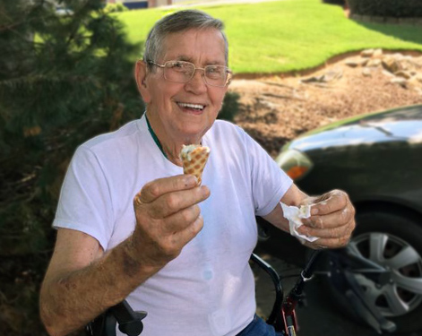 Legacy Ridge at Neese Road | Senior resident with ice cream