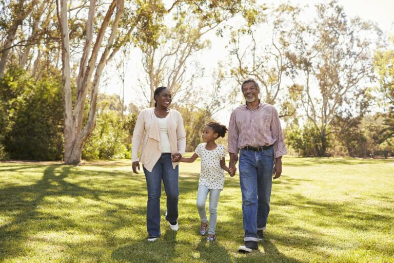 Legacy Ridge at Neese Road | Senior walking with daughter and granddaughter outdoors