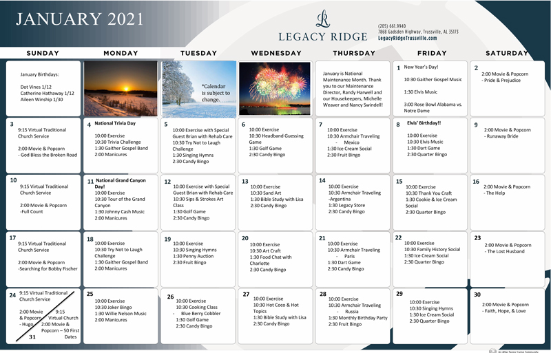 Legacy Ridge Trussville | January 2021 Calendar