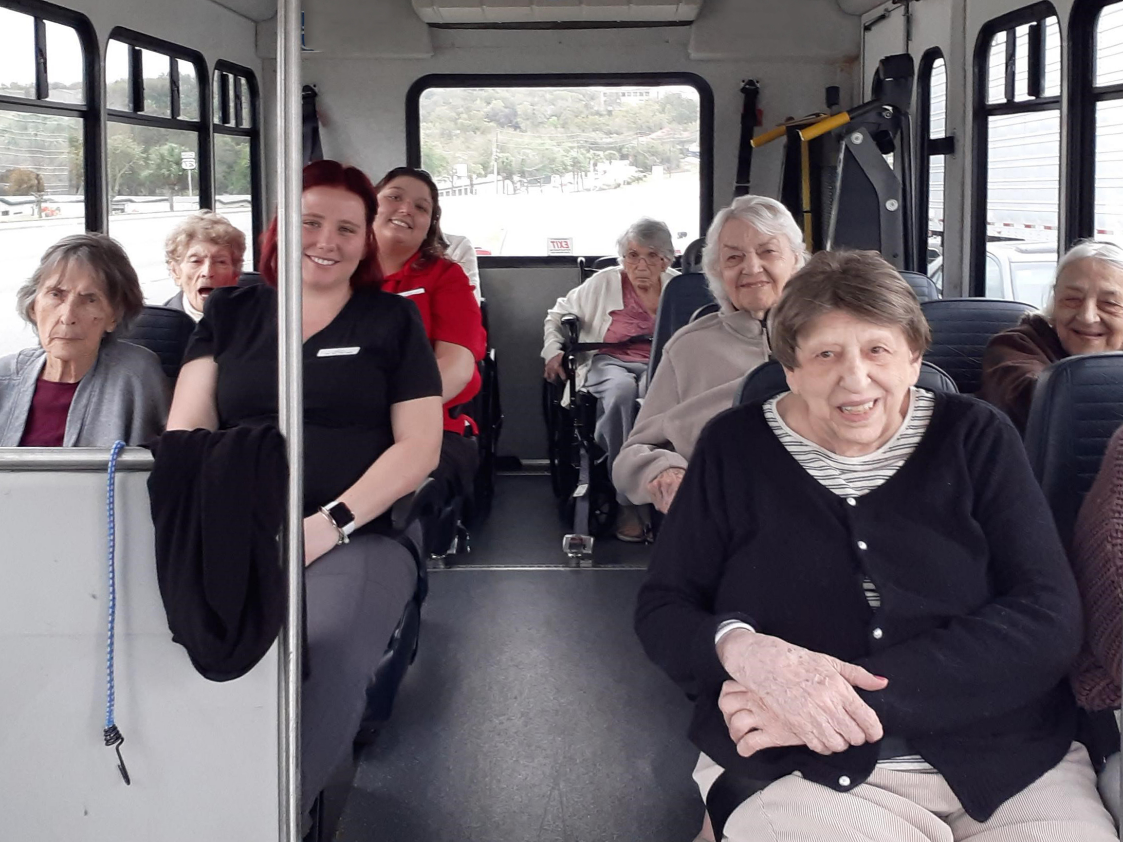 Madison at Clermont residents and associates in shuttle bus