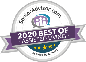SeniorAdvisor.com 2020 Best of Assisted Living award badge