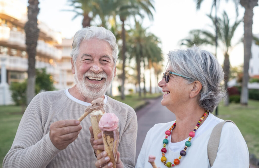 The Goldton at St. Petersburg | Senior couple eating ice cream