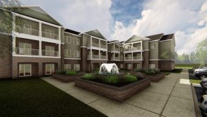 Fairview Park Independent Living courtyard view rendering in Simpsonville, SC
